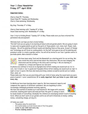 thumbnail of Y1 class newsletter 27.4