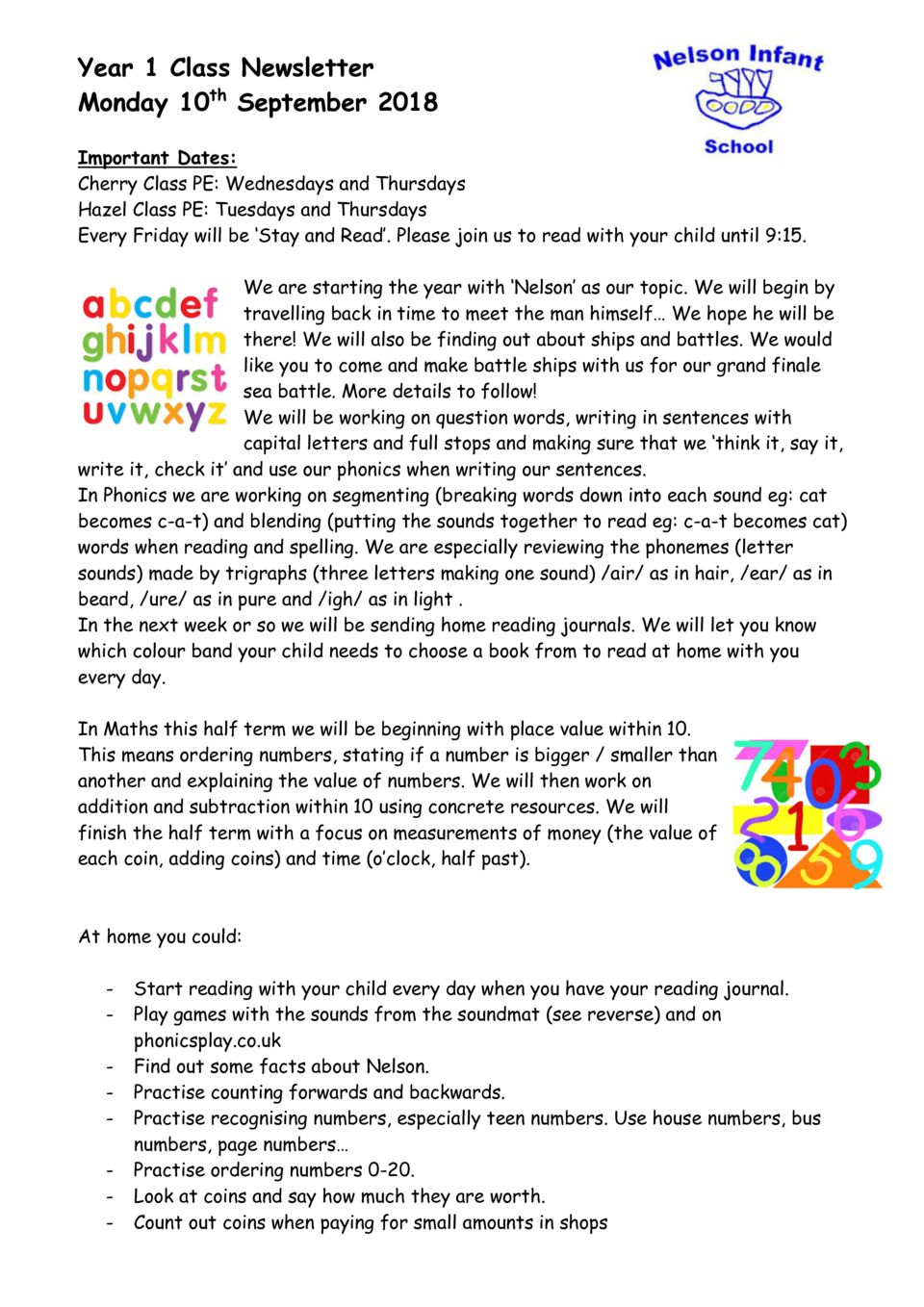 thumbnail of Year 1 Class Newsletter 10th September 2018