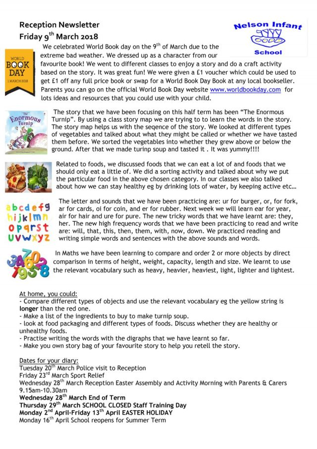thumbnail of Reception Newsletter 9th March 2018